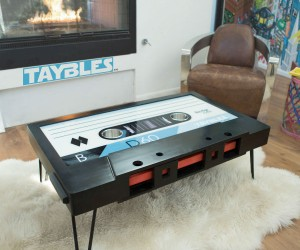 TAYBLES Cassette Tape Coffee Table! – Comes with a hidden shelf, two cup holders, and a writable surface!