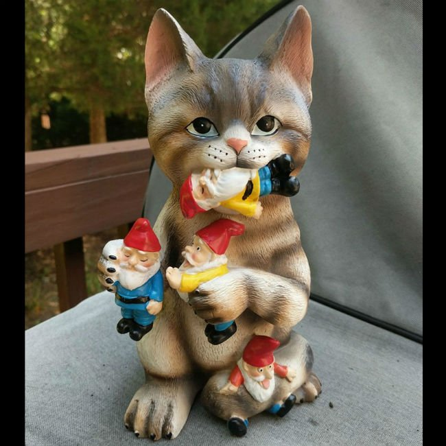 cat garden gnome massacre