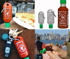 Sriracha 2 Go Keychain Bottle – Never worry about a sans-sriracha meal again. Simply fill your empty Sriracha2Go bottle with Huy Fong Sriracha to arm yourself with a stash of