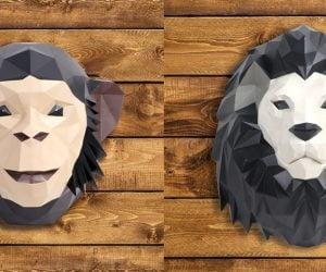 Lion & chimp Origami Wall Sculptures!