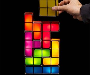 Seven-piece interlocking light fixture for fans of Tetris.