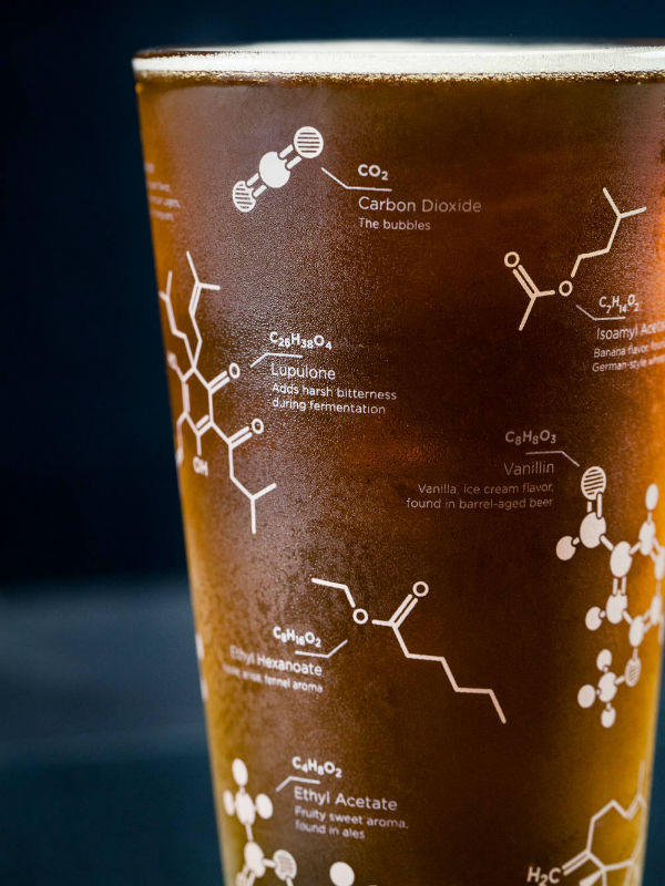 beer chemistry molecule pint glass set