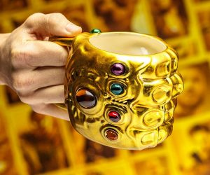 Marvel Thanos Infinity Gauntlet Mug – As Thanos tightens his grip on the universe, you'll get a better grip on your mornings as you sip from this sculpted Infinity Stone Gauntlet