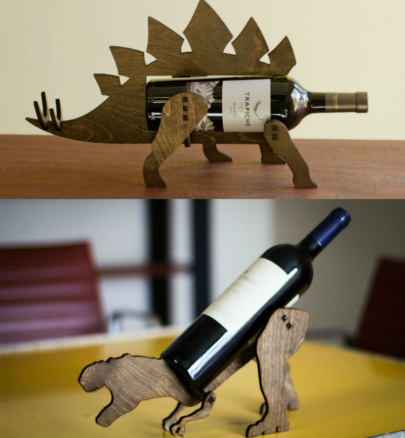 dino wine bottle holders
