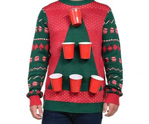 Beer Pong Ugly Christmas Sweater – 6 removable beer pong cups. Comes with 6 beer pong balls