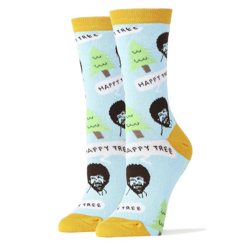bob ross happy tree socks