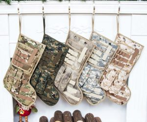 Tactical Christmas Stockings – This Durable Tactical Christmas Stocking is great for the entire family. It has MOLLE attachments, handle, hanging hook, and an outside draw pocket. Size: 19.0 x 8.5 in.
