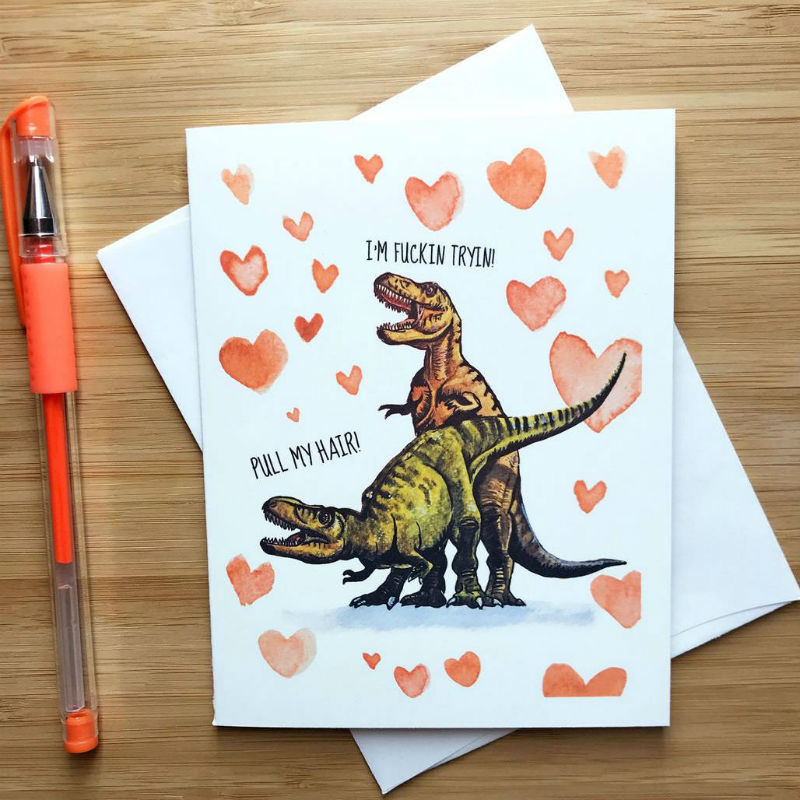 trex valentines day card