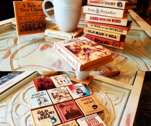 Classic Book Wooden Coasters – Put down your drink, not your book! Create a mini coaster library that is sure to bring a smile to your face and your guests.