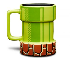 Nintendo Mario Pipe Mug – A convenient way to warp caffeine! It's a fun 3D mug from the Super Mario Brothers world. Holds your favorite liquids without sending them to another
