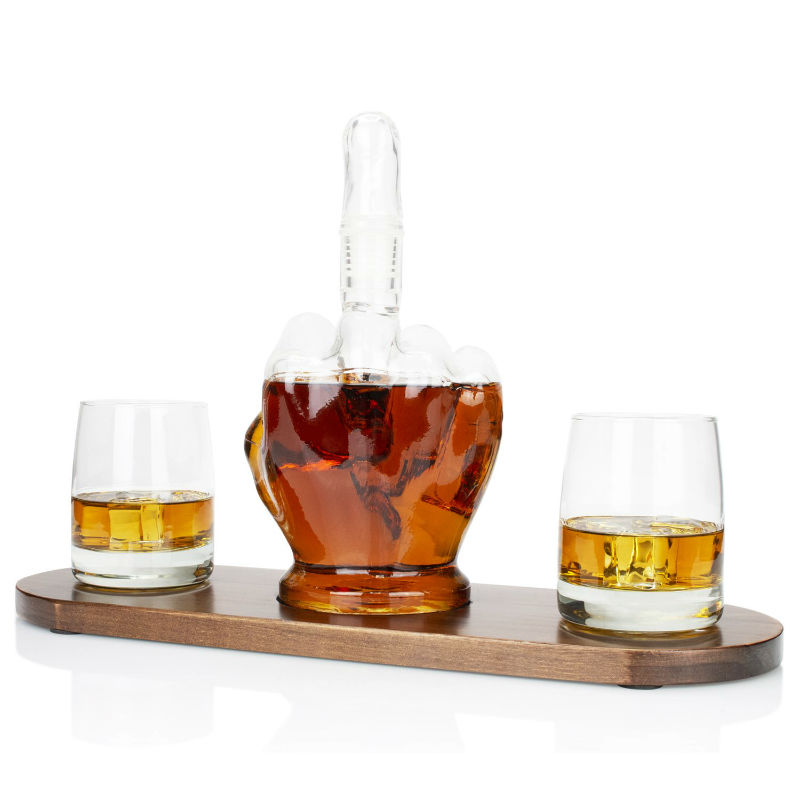 middle finger whiskey decanter