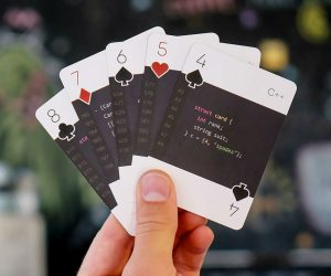 Programming Playing Cards – The perfect gift for the programmer in your life. code:deck modern is a unique playing card deck where each individual card features a code snippet describing
