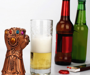 ThanosInfinity Gauntlet Bottle Opener –Snap! Now I got your attention!Destroying the galaxy and alcohol ingestion balanced, like all things should be.
