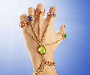 Infinity Gauntlet Rings Bracelet – All the power in a more petite package. Thanos is a pretty big guy so it makes sense that his gauntlet is huge. But regular humans
