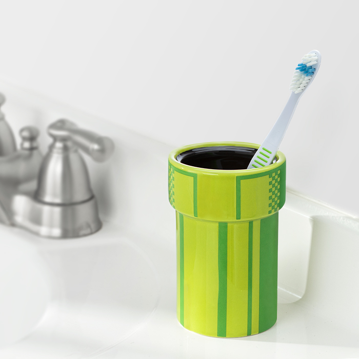 mario warp pipe toothbrush holder