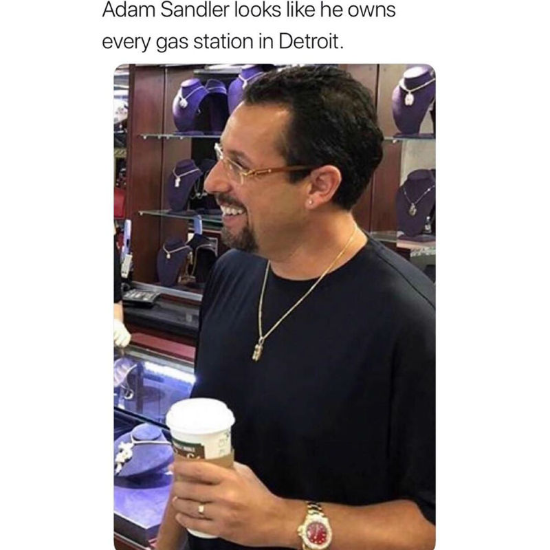 adam sandler looks like he owns every gas station in detroit