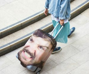 "Personalized Face Luggage Cover – Nothing says ""that's my bag!"" like one with your own face on it"
