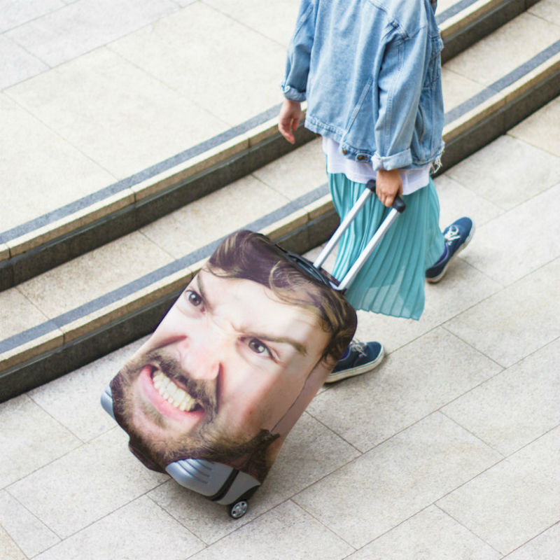 personalized face luggage cover