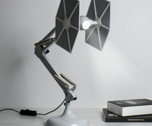 Star Wars Tie Fighter Desk Lamp – Have the Dark Side on your desk. Posable 60cm tall TIE fighter desk lamp. Nowhere near as fragile as the real thing. Powered by twin