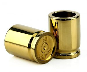 50 Caliber Shot Glasses – These great looking set of 2 ceramic shot glasses are shaped like 50 cal bullet casings that will make for a great addition to the mancave.