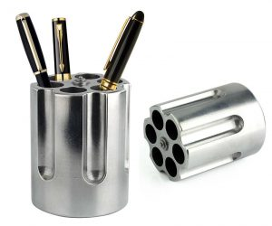 It holds your favorite pens and more! – The gun cylinder pen holder is large enough to hold large pens, sharpies, markers, scissors, fountain pens, pencils, letter openers and many