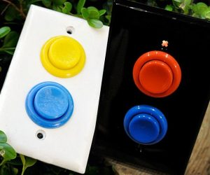 Arcade button light switch covers – These classic arcade button wall plates can be used to cover any rocker-style light switches in the house. Add fun to a kids' room, a