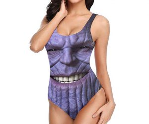 Thanos One piece Swimwear –  Get ready for summer with this stylish Thanos face one piece. Just don't snap anywhere near your crotch or half your junk might disappear.