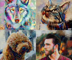 Create custom artwork with the help of AI –  Create one of a kind pet portrait paintings from one of your photos with the help of AI. We trained AI
