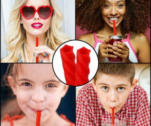 This reusable straw looks just like red licorice – A great alternative to disposable plastic straws the Cherry Red Straw is 100% reusable, includes four straws made of 100% Food-Grade