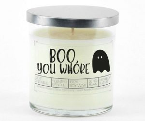 Fill your home with the spooky aroma of a Boo You Whore Halloween Candle!