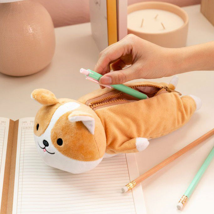 corgi plush pencil pouch