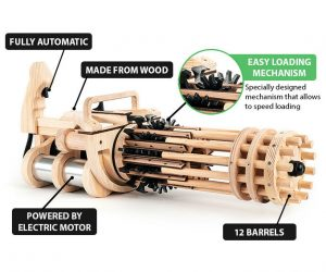 Unleash a rubbery fury on your target by blasting it to smithereens with this fully automatic rubber band minigun! This amazing wooden gun comes with a specially designed mechanism that