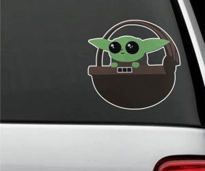 Baby Yoda Car Decal – Just like a classic baby on board sticker but way cuter!