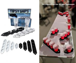 Tipsy Ships is like Battleship for your beer pong table – The beloved game of beer pong with a new twist! Teams face off against each other with 4 different sized