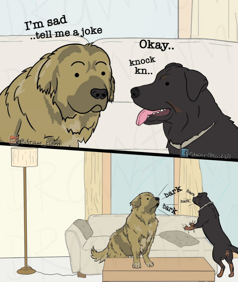 im sad tell me a joke knock knock dog comic