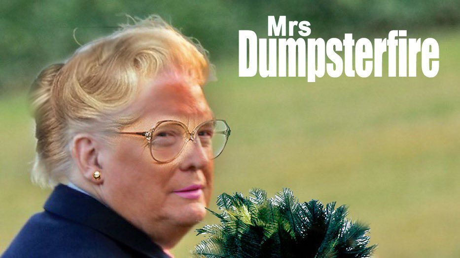 mrs dumpsterfire trump orange face meme