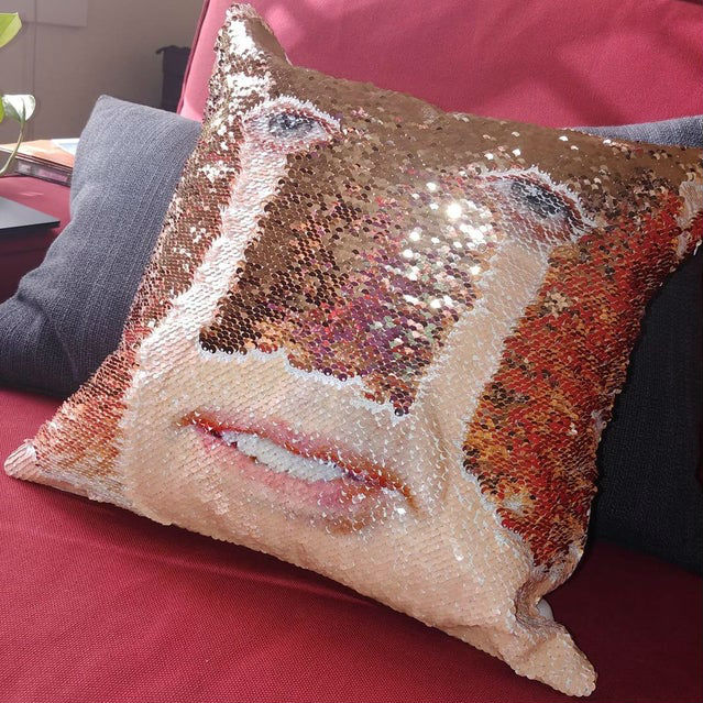 nic cage sequin pillow