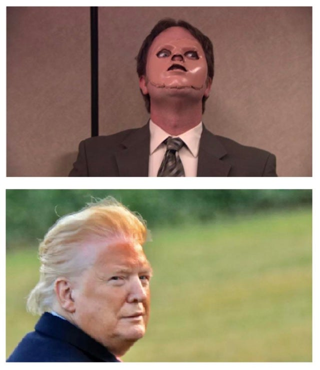 trump orange face dwight schrute meme