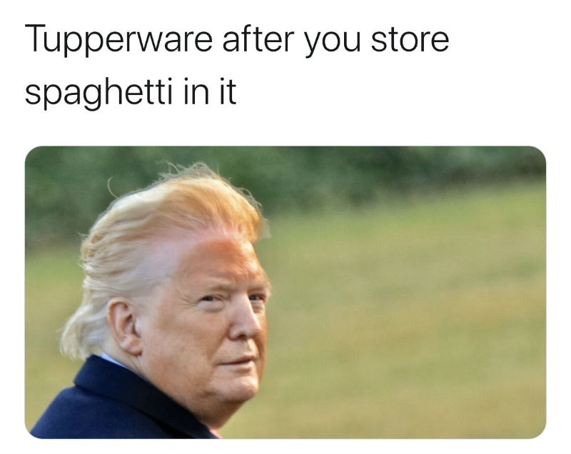 trump tupperware orange face meme