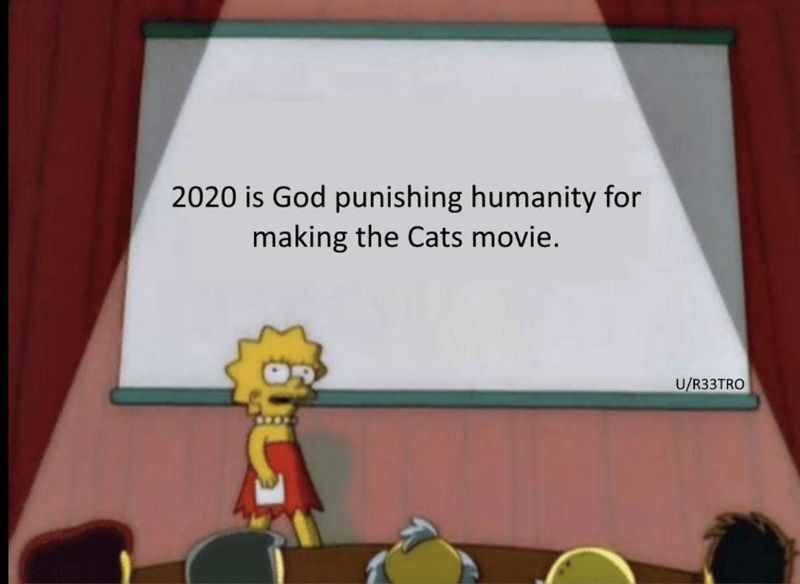 2020 Is God Punishing Humanity For Making The Cats Movie Meme