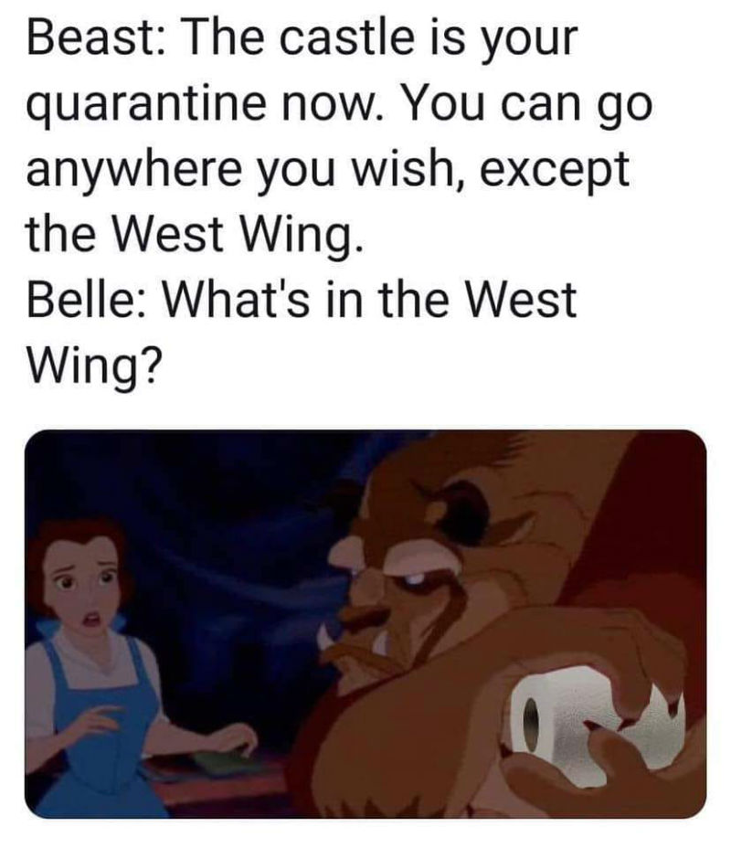 beauty and the beast quarantine toilet paper meme