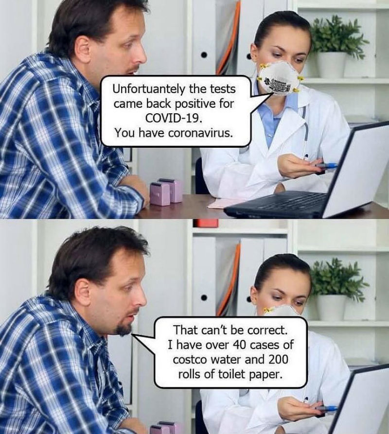 corona virus costco toilet paper meme