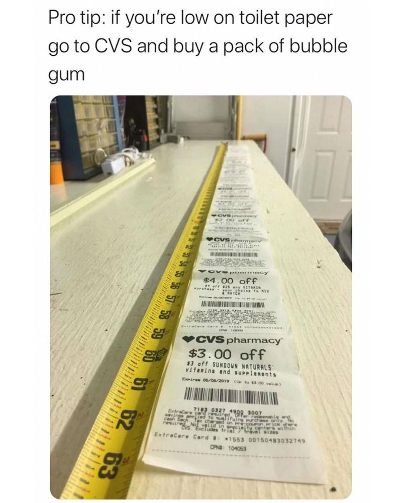 cvs receipt toilet paper corona virus meme