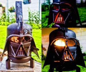 Darth Vader BBQ Grill –The BBQ grill version of our popular Vader Burner. This is Burned by Designs dual purpose wood burner and outdoor grill.
