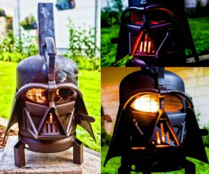 Darth Vader BBQ Grill – The BBQ grill version of our popular Vader Burner. This is Burned by Designs dual purpose wood burner and outdoor grill.
