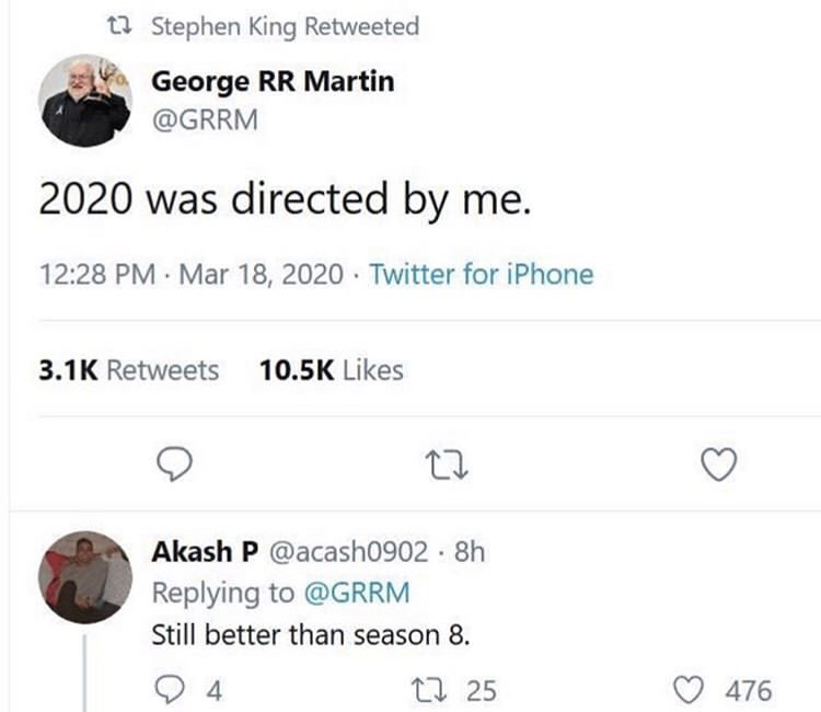 george rr martin 2020 was directed by me
