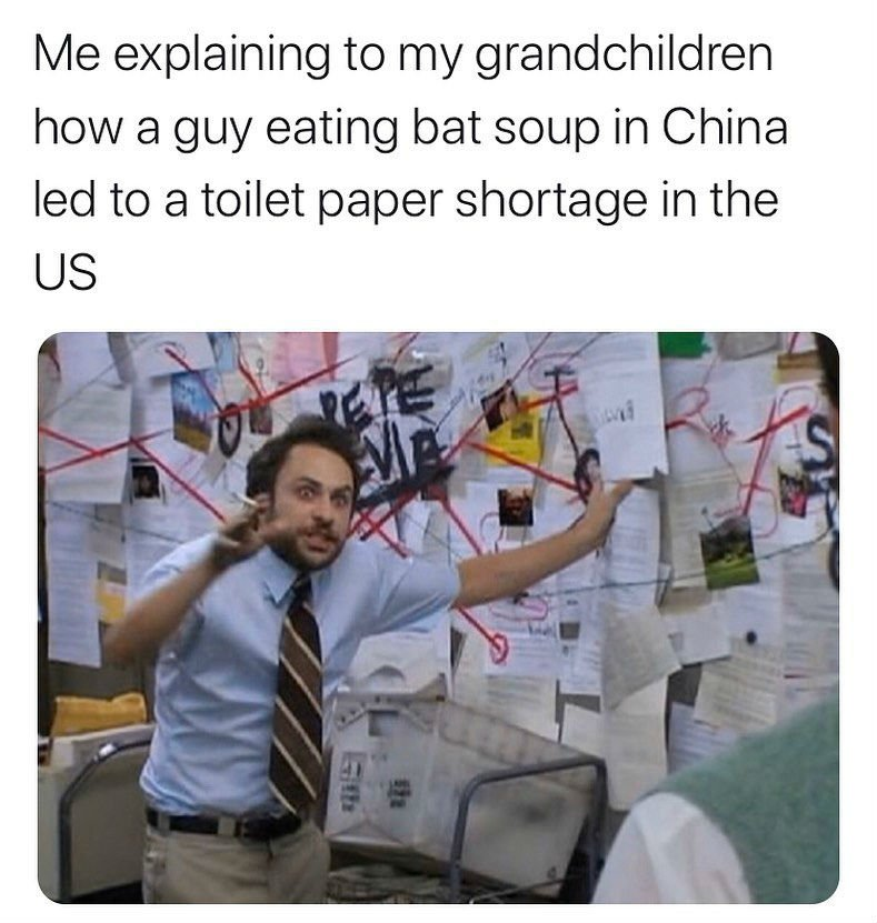 me explaining how a guy in china eating bat soup led to a shortage of toilet paper in the us