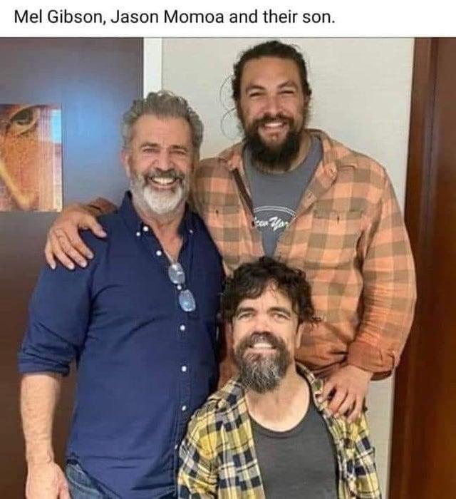 mel gibson jason momoa and their son