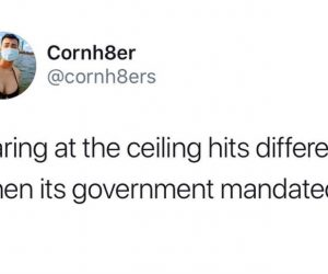Staring At The Ceiling Hits Different When It's Government Mandated – Quarantine Meme