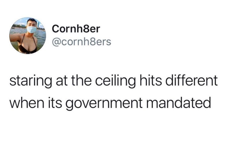 staring at the ceiling hits different when its government mandated meme